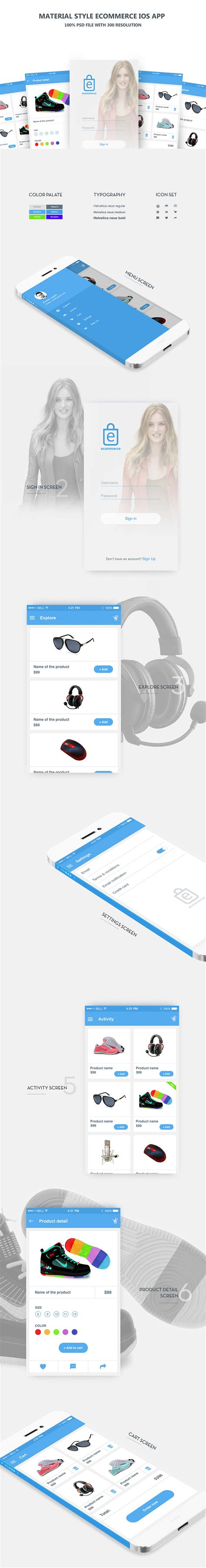 ecommerce app ui free psd download download psd clean material style ecommerce ios app free psd download