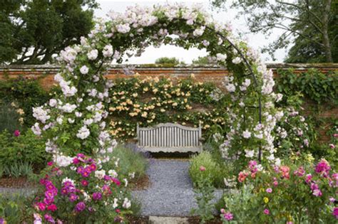 rose arch with bench view through the arch and bench in the rose garden at