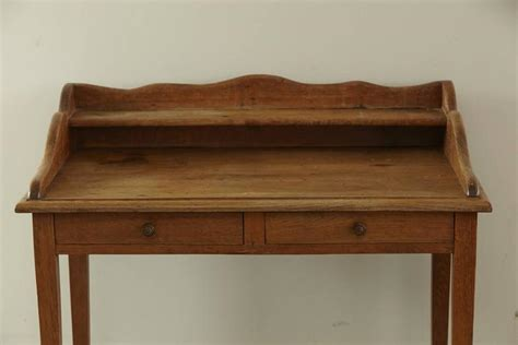 19th Century Country Style Pine Desk With Top Shelf Whitevan