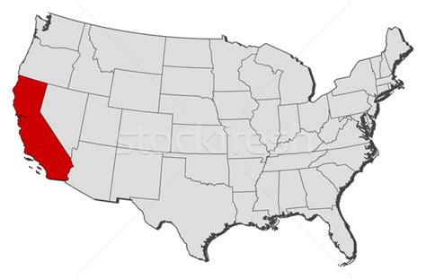 us map highlight states map of the united states california highlighted vector