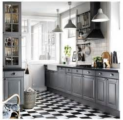 ikea grey kitchen with black and white tiled floor lovely