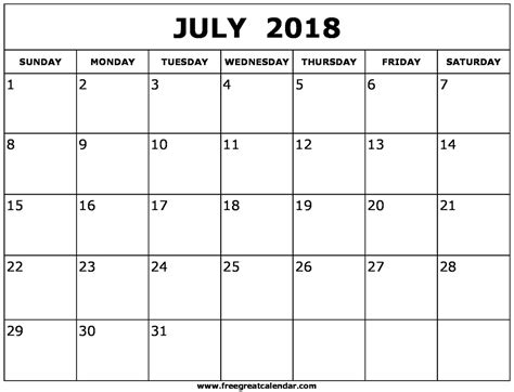 printable calendar july 2018 blank july 2018 calendar printable
