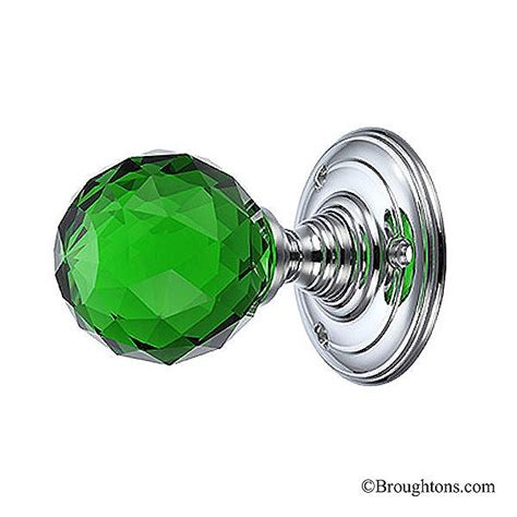Green Glass Door Knobs by Facetted Green Glass Door Knobs On Chrome Roses