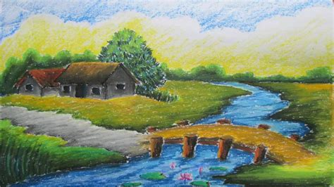 what is landscape drawing pastel tutorial how to draw a village landscape with oil pastels
