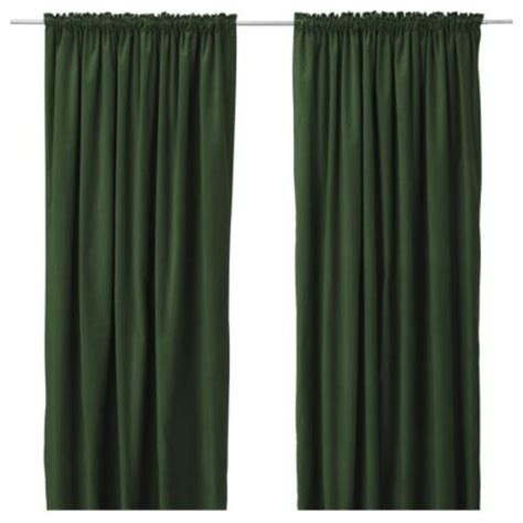 Ikea Dark Green Curtains Curtains