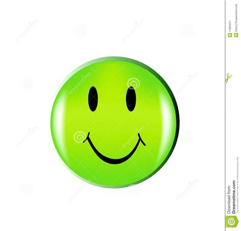 happy green color happy green smile face button stock vector illustration