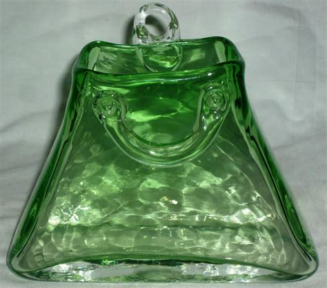 gorgeous handblown murano optical green glass wall pocket