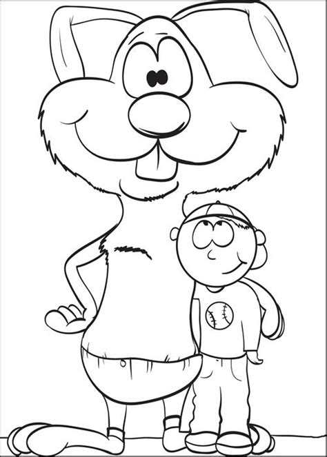 boy bunny coloring page coloring page of a bunny standing with a boy easter
