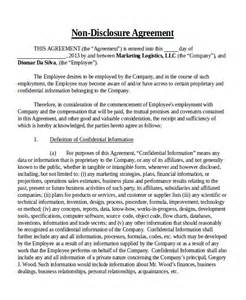 Non Disclosure Confidentiality Agreement Template by Doc 460595 Employment Confidentiality Agreement