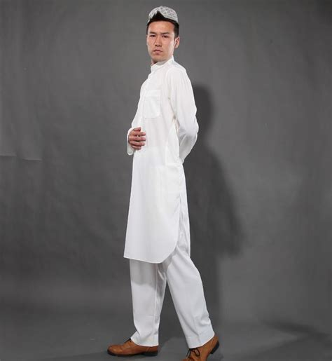 Polos St 3in1 Stelan Muslim white islamic thobes abaya arabia robe and pant muslim clothing suit mens jalabiya middle