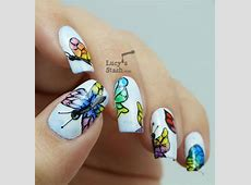 30+ Pretty Butterfly Nail Art Designs - Noted List French Tip Nail Designs With Glitter