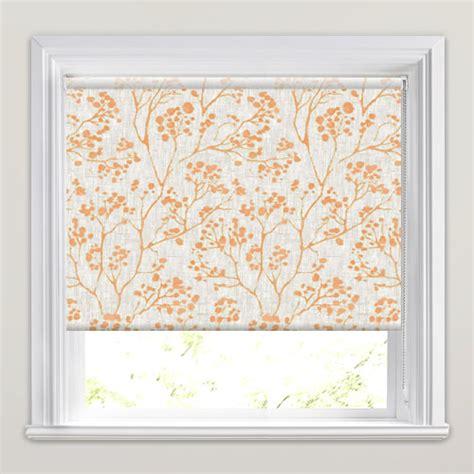 orange patterned roller blind orange beige branches leaves botanical patterned