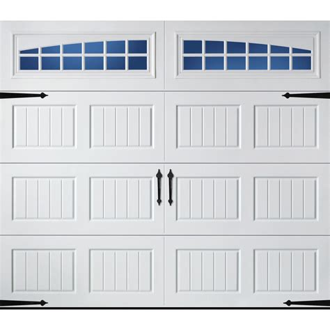 shop pella carriage house series 8 ft x 7 ft insulated white garage door with windows at lowes
