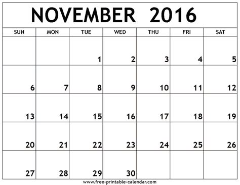 November 2016 Calendar Template   yearly calendar template