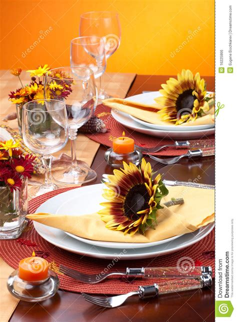 fall themed dinner fall theme dinner table set stock photo image 16225866