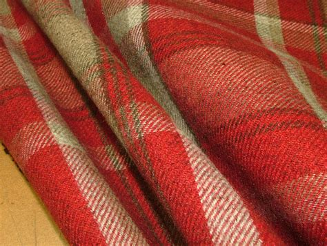thick curtain fabric elgin red wool effect washable thick tartan curtain fabric