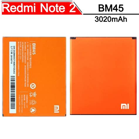 Baterai Xiami Bm45 Original 100 replacement battery for xiaomi note 3020mah original bm45 orange jakartanotebook