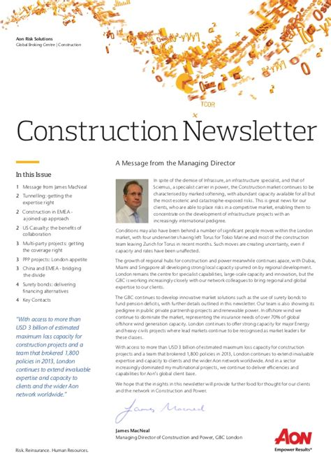 Construction Newsletter Aon Construction Newsletter V11