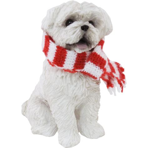 maltese sitting with scarf christmas ornament baxterboo