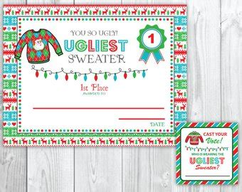 printable ugly sweater certificate no download sweater awards etsy
