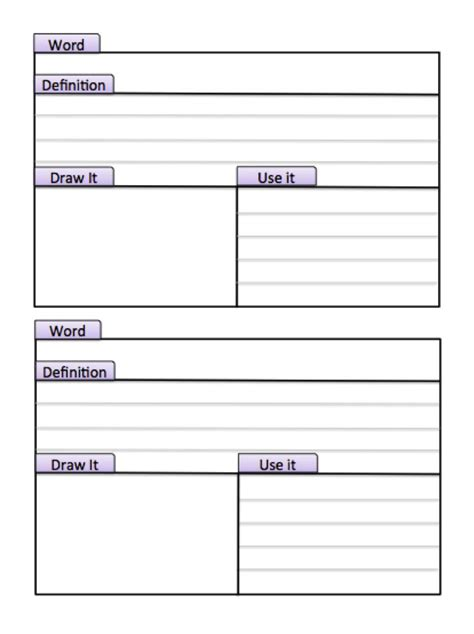 Vocabulary Card Templates For Word by Best 25 Vocabulary Journal Ideas On