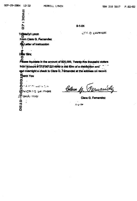 Medallion Guarantee Letter Limits Clara G Fernandez Clara S Medallion Signature Guarantee Request Wtih Bb T Bank On October 4 2004