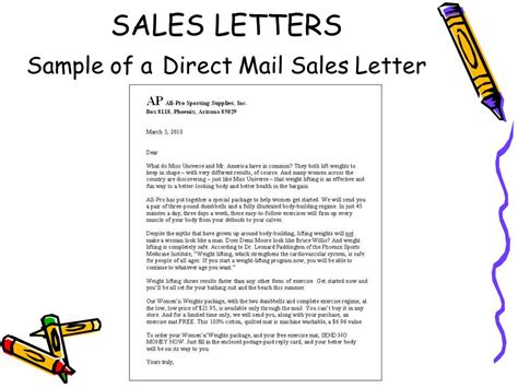 direct sales letter sle sales and relations letters ppt