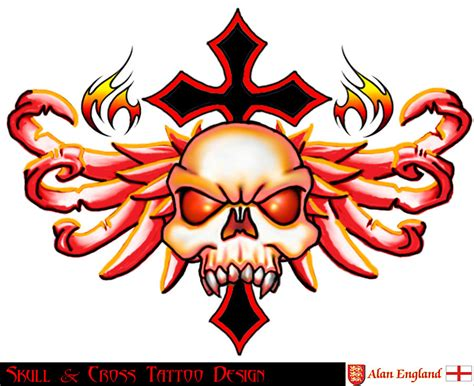 skulls and crosses tattoos skull and cross design by england9 on deviantart
