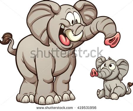 Small Images Clip by Big Small Elephants Vector Clip Stock Vector