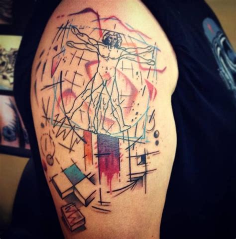 leonardo da vinci s vitruvian man inspired abstract tattoo