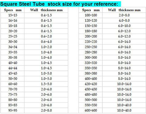 square section steel tube sizes steel square tube