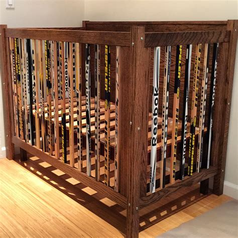 Hockey Crib Bedding A Crib I Built Out Of Hockey Sticks And Oak For The Home Pinterest