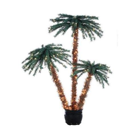 outdoor lighted palm tree home depot sterling 3 4 and 5 ft pre lit palm tree grouping in