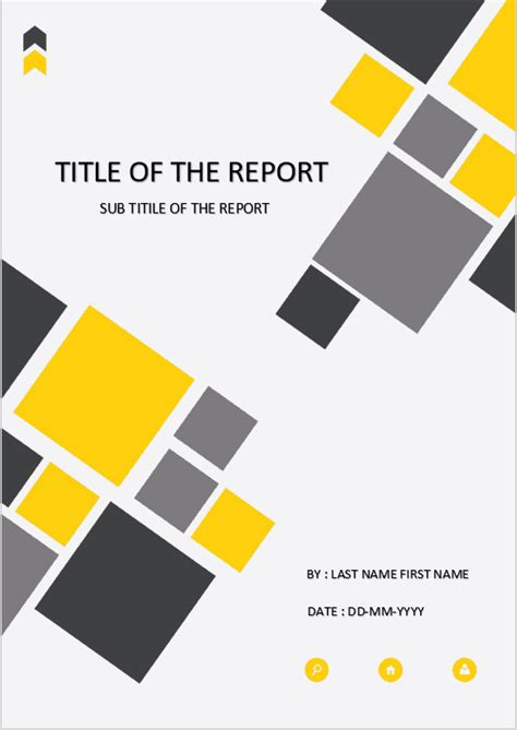 cover page  template  ms word cover page yellow square