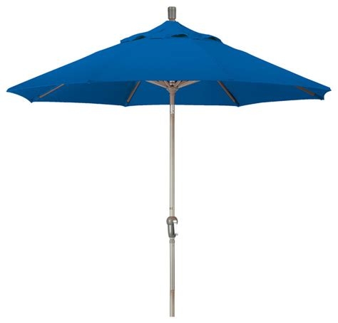 Outdoor Patio Umbrellas Sunbrella 9 Aluminum Market Umbrella Auto Tilt Chagne Sunbrella Pacific Blue Outdoor Umbrellas