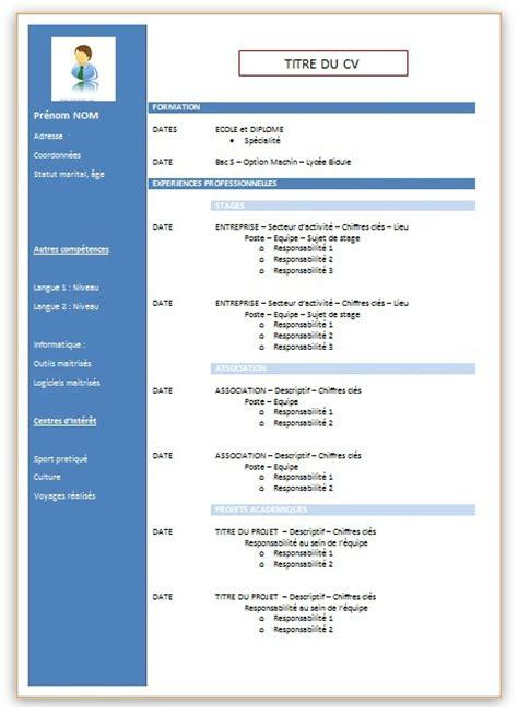 Matrice Cv Word by Modele Cv 2 Colonnes Gratuit Cv Anonyme
