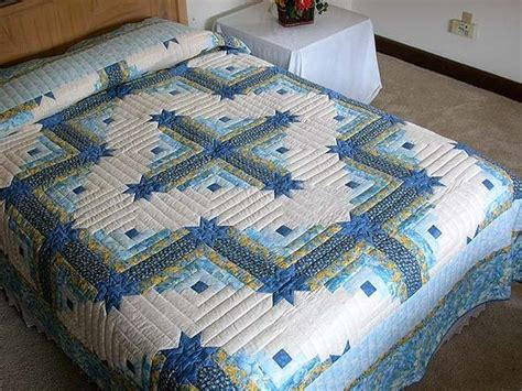 king size log cabin star quilt pattern blue  yellow colorado log cabin quilt quilts