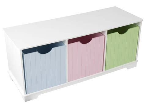 kidkraft nantucket storage bench pastel white nantucket storage bench w pastel bins