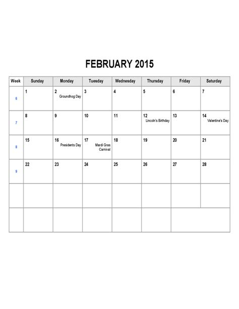 february 2015 calendar sle free download