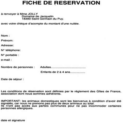 Exemple De Lettre Reservation Hotel Fiche Reservation Hotel