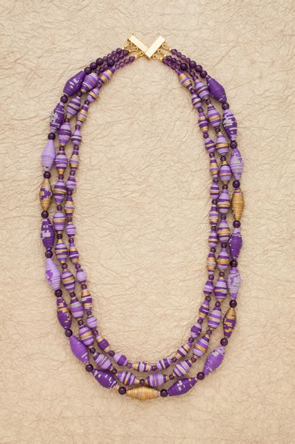 Paper Bead Jewelry Ideas - boho bib style paper bead necklace