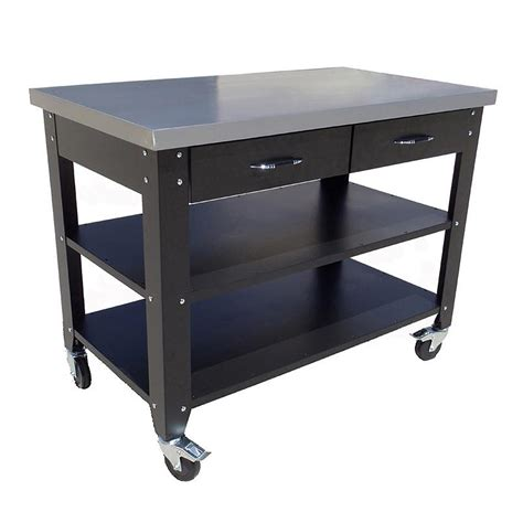 work benches australia 47 inch mobile workbench with stainless steel top from
