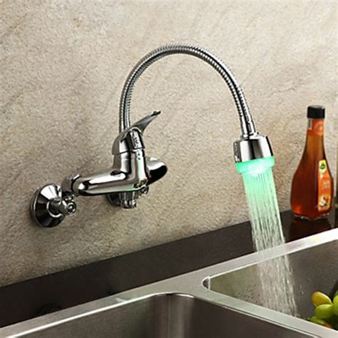 wall mounted kitchen sink faucets chrome finish single handle color changing led wall