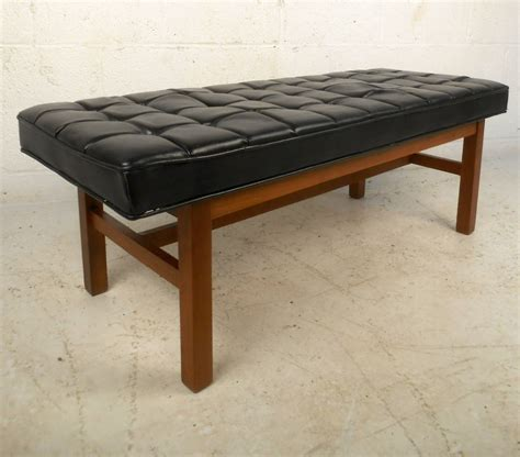 Vinyl Benches mid century modern tufted vinyl bench for sale at 1stdibs