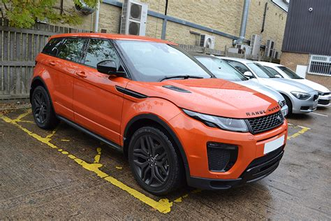 wrapped range rover evoque phoenix orange evoque roof wrap reforma uk