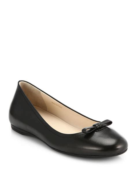 bow shoes flats prada bow ballet flats in black lyst