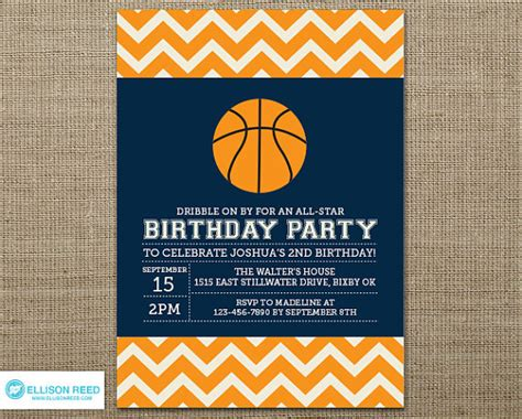 orange and navy birthday party invitation digital file basketball invitation basketball printable sports by