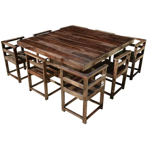 Square Wood Dining Table For 8 Modern Rustic Solid Wood 64 Quot Square Pedestal Dining Table 8 Chairs