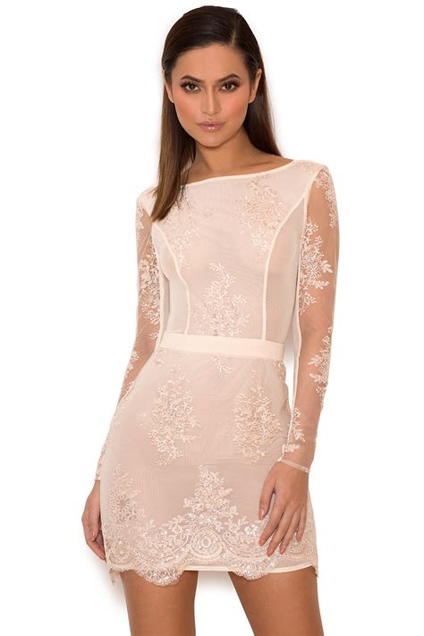 Dress With Sequin clothing bodycon dresses sathea light pink lace and