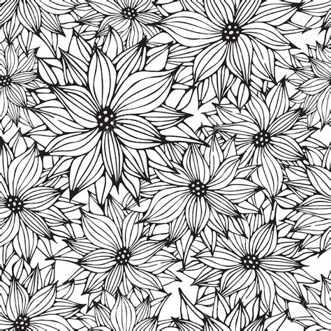 flower pattern drawing vector seamless floral white black background flower hand drawn